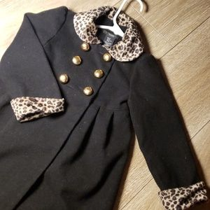 Gorgeous Tahari Girls Dress Coat leopard black